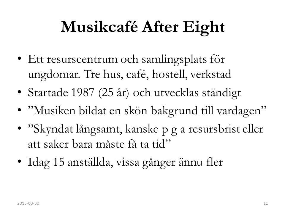 Musikcafé After Eight Ett resurscentrum och samlingsplats för ungdomar.