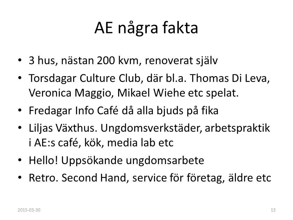 AE några fakta 3 hus, nästan 200 kvm, renoverat själv Torsdagar Culture Club, där bl.a.