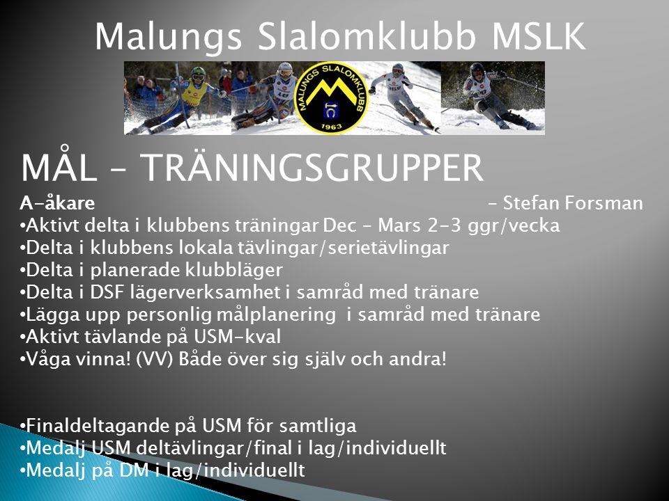 Malungs Slalomklubb MSLK MÅL – TRÄNINGSGRUPPER A-åkare – Stefan Forsman Aktivt delta i klubbens träningar Dec – Mars 2-3 ggr/vecka Delta i klubbens lo