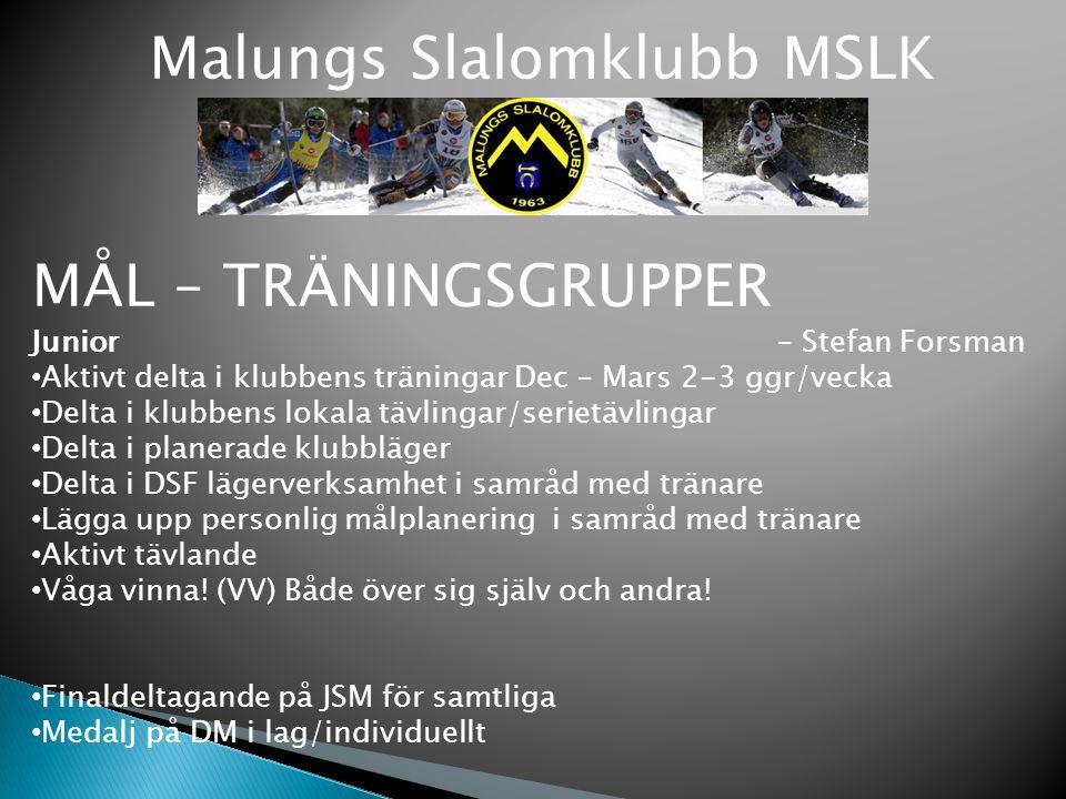 Malungs Slalomklubb MSLK MÅL – TRÄNINGSGRUPPER Junior – Stefan Forsman Aktivt delta i klubbens träningar Dec – Mars 2-3 ggr/vecka Delta i klubbens lok