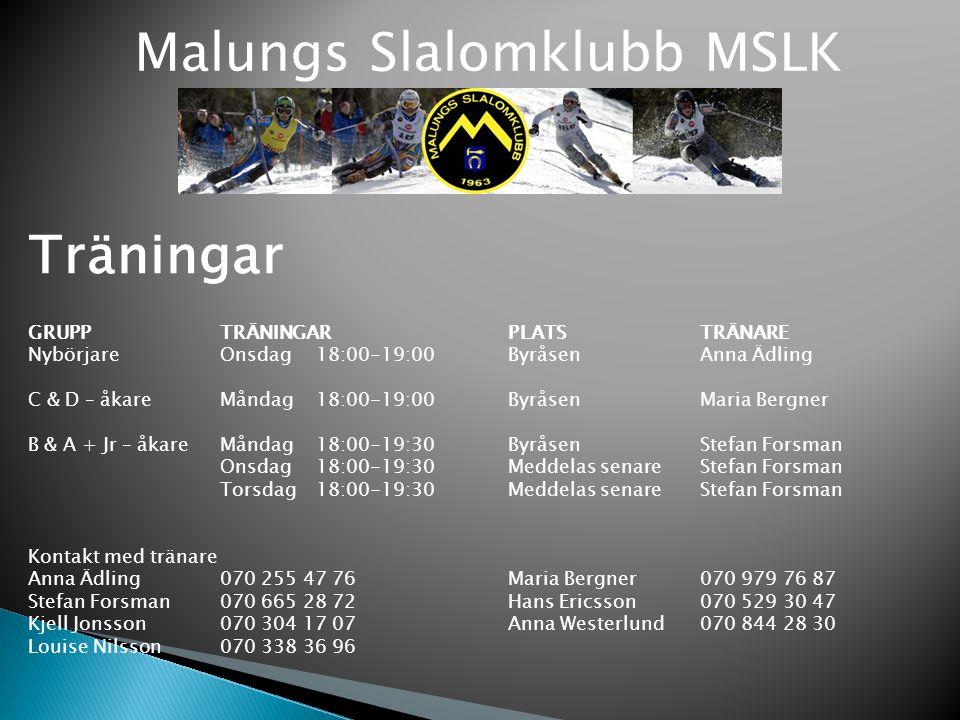 Malungs Slalomklubb MSLK Träningar GRUPP TRÄNINGARPLATSTRÄNARE Nybörjare Onsdag 18:00-19:00 ByråsenAnna Ädling C & D – åkare Måndag 18:00-19:00 Byråse