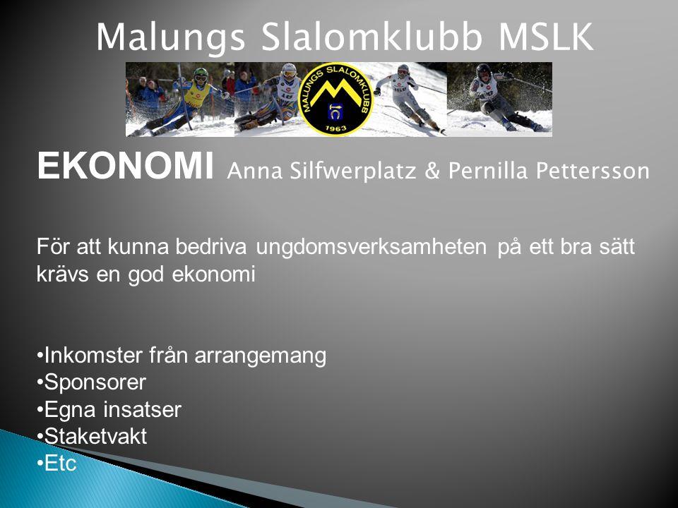 Malungs Slalomklubb MSLK EKONOMI Anna Silfwerplatz & Pernilla Pettersson För att kunna bedriva ungdomsverksamheten på ett bra sätt krävs en god ekonom