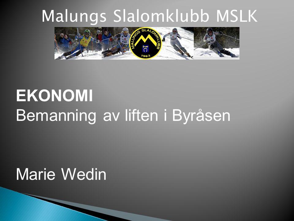 Malungs Slalomklubb MSLK EKONOMI Bemanning av liften i Byråsen Marie Wedin