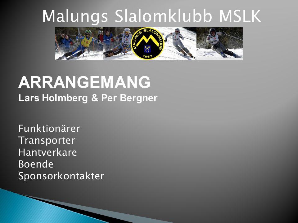 Malungs Slalomklubb MSLK ARRANGEMANG Lars Holmberg & Per Bergner Funktionärer Transporter Hantverkare Boende Sponsorkontakter