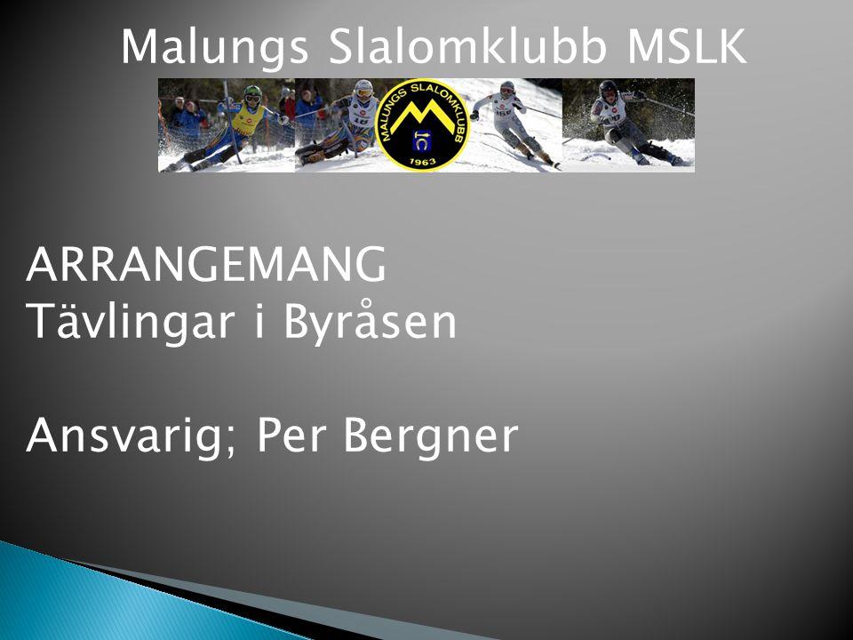 Malungs Slalomklubb MSLK ARRANGEMANG Tävlingar i Byråsen Ansvarig; Per Bergner