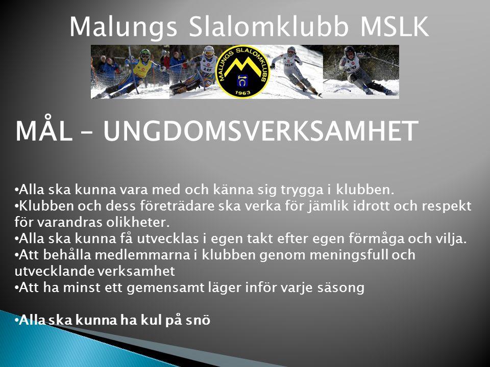 Malungs Slalomklubb MSLK MÅL – UNGDOMSVERKSAMHET Alla ska kunna vara med och känna sig trygga i klubben. Klubben och dess företrädare ska verka för jä