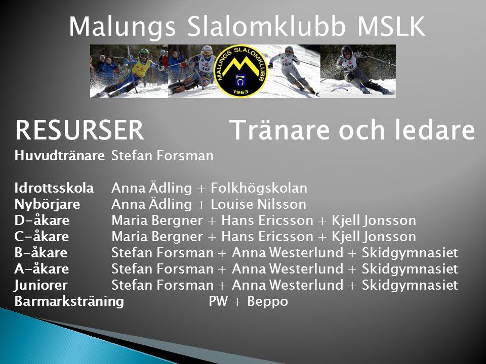 Malungs Slalomklubb MSLK RESURSER Tränare och ledare Huvudtränare Stefan Forsman Idrottsskola Anna Ädling + Folkhögskolan Nybörjare Anna Ädling + Loui