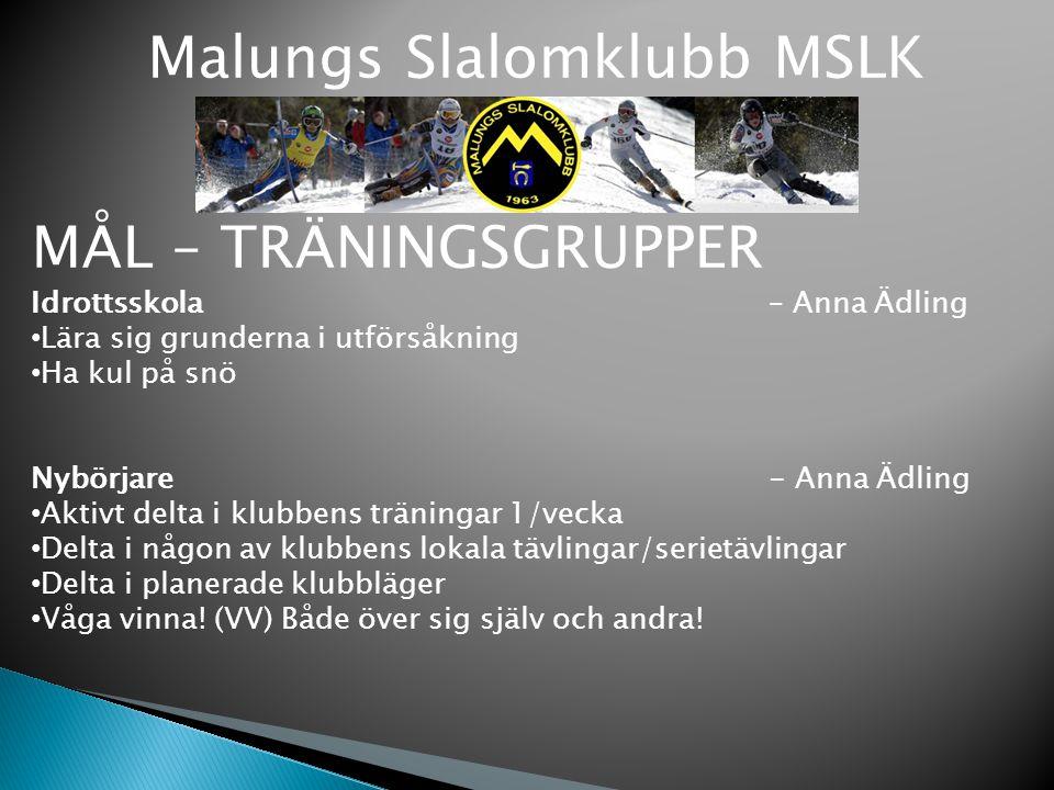 Malungs Slalomklubb MSLK MÅL – TRÄNINGSGRUPPER Idrottsskola – Anna Ädling Lära sig grunderna i utförsåkning Ha kul på snö Nybörjare - Anna Ädling Akti