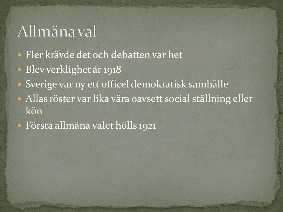 Fler krävde det och debatten var het Blev verklighet år 1918 Sverige var ny ett officel demokratisk samhälle Allas röster var lika vära oavsett social