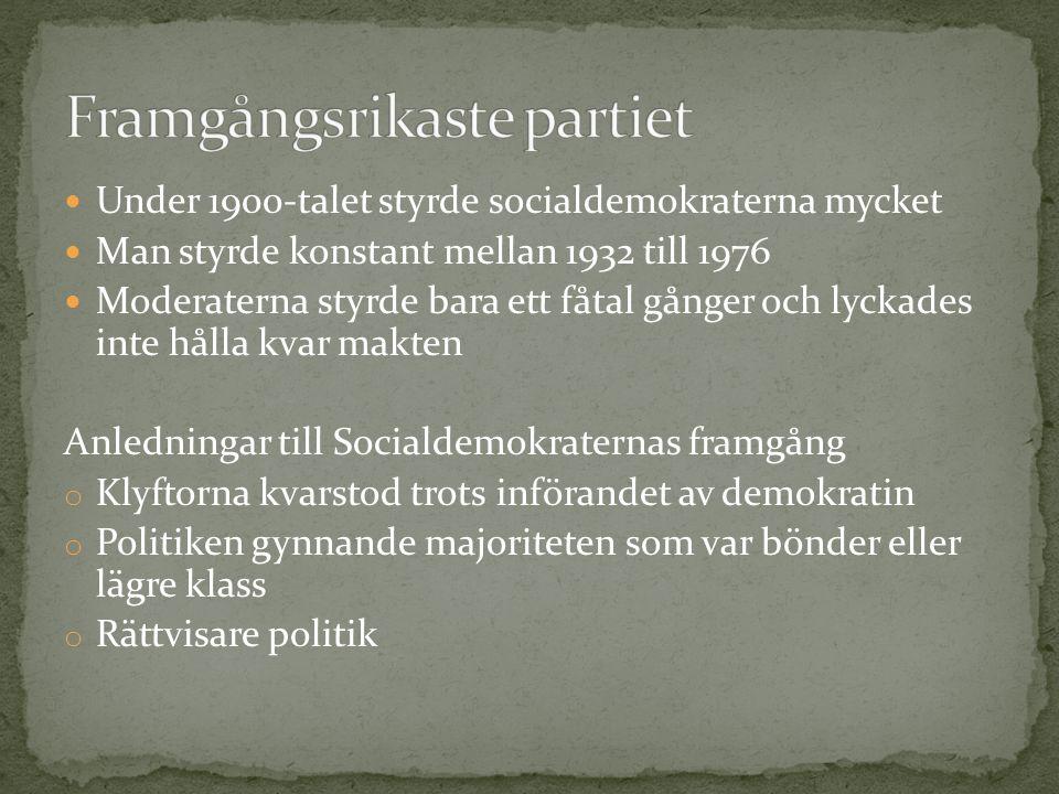 Under 1900-talet styrde socialdemokraterna mycket Man styrde konstant mellan 1932 till 1976 Moderaterna styrde bara ett fåtal gånger och lyckades inte