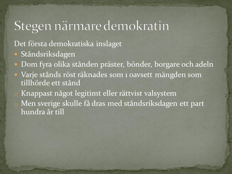 Det första demokratiska inslaget Ståndsriksdagen Dom fyra olika stånden präster, bönder, borgare och adeln Varje stånds röst räknades som 1 oavsett mä
