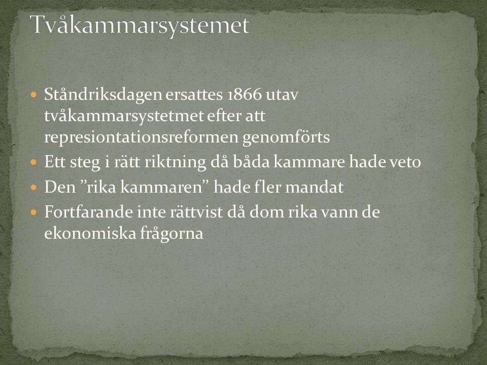 Ståndriksdagen ersattes 1866 utav tvåkammarsystetmet efter att represiontationsreformen genomförts Ett steg i rätt riktning då båda kammare hade veto