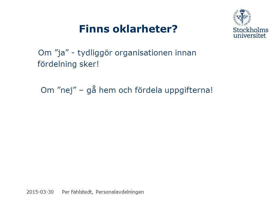 """Finns oklarheter? Om """"ja"""" - tydliggör organisationen innan fördelning sker! Om """"nej"""" – gå hem och fördela uppgifterna! 2015-03-30Per Fahlstedt, Person"""