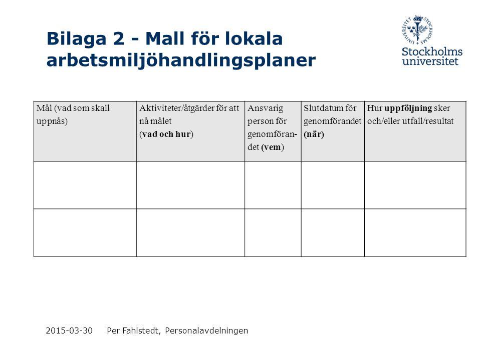 Bilaga 2 - Mall för lokala arbetsmiljöhandlingsplaner 2015-03-30Per Fahlstedt, Personalavdelningen Mål (vad som skall uppnås) Aktiviteter/åtgärder för