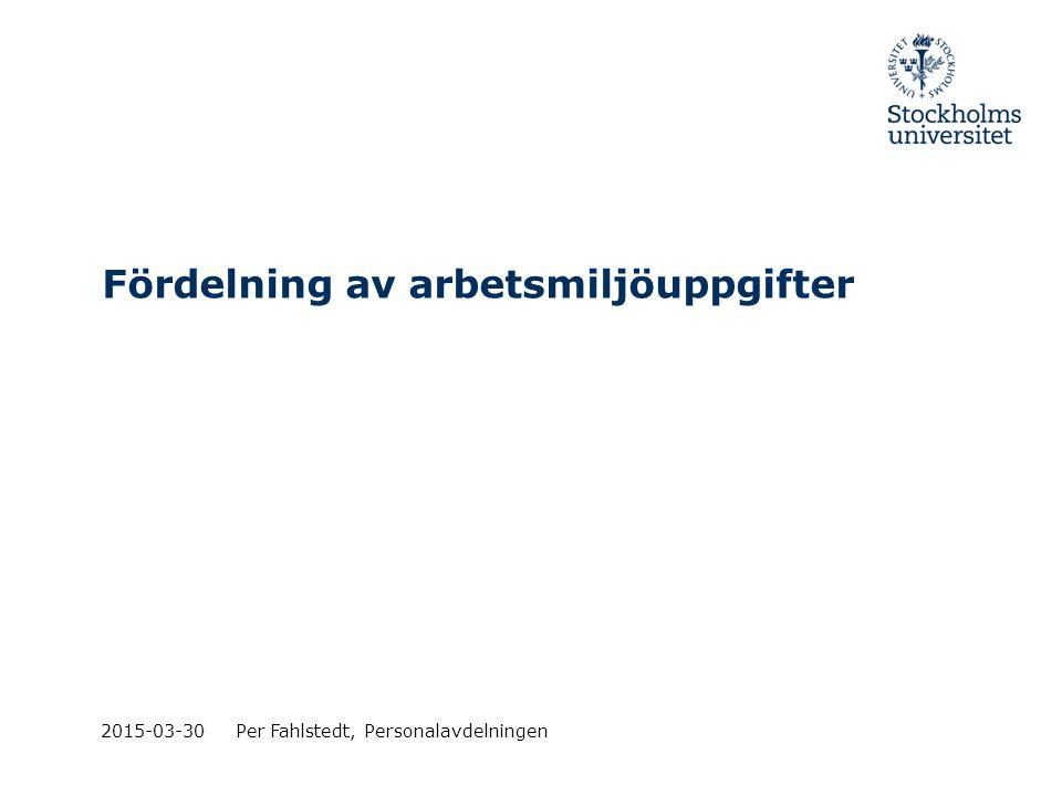 Fördelning av arbetsmiljöuppgifter 2015-03-30Per Fahlstedt, Personalavdelningen