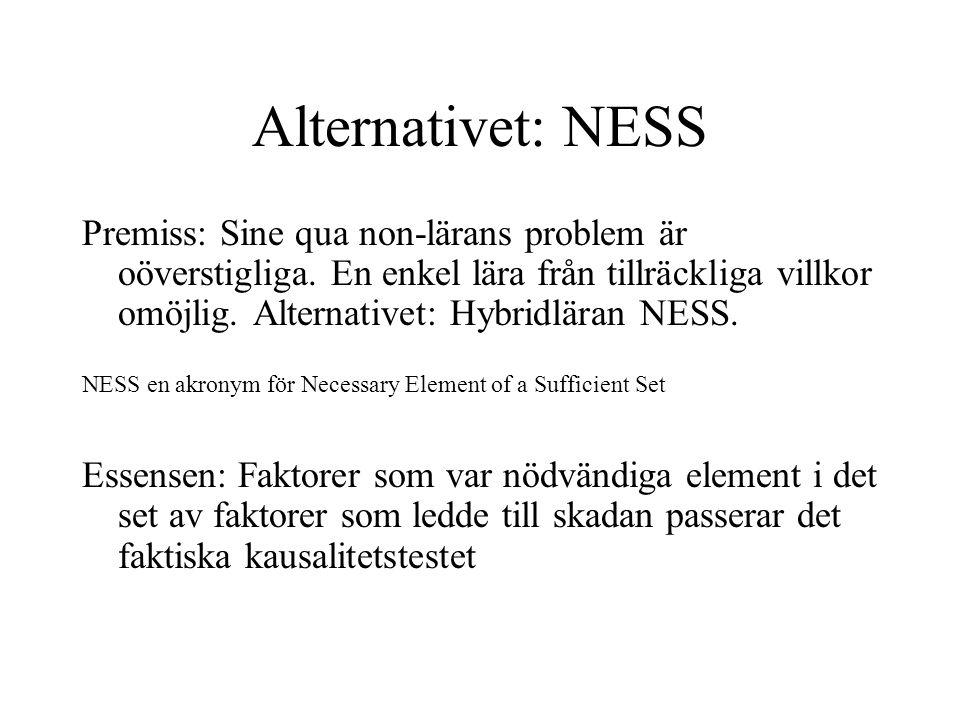 Alternativet: NESS Premiss: Sine qua non-lärans problem är oöverstigliga. En enkel lära från tillräckliga villkor omöjlig. Alternativet: Hybridläran N