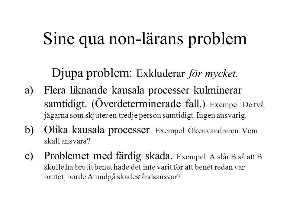 Sine qua non-lärans problem Djupa problem: Exkluderar för mycket. a)Flera liknande kausala processer kulminerar samtidigt. (Överdeterminerade fall.) E