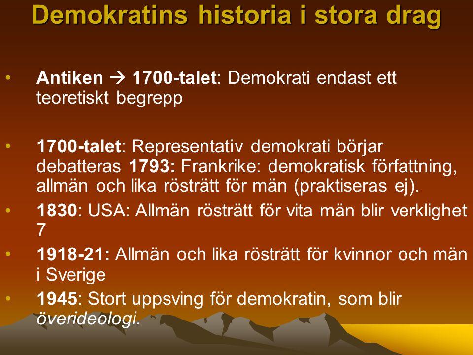 Antiken  1700-talet: Demokrati endast ett teoretiskt begrepp 1700-talet: Representativ demokrati börjar debatteras 1793: Frankrike: demokratisk författning, allmän och lika rösträtt för män (praktiseras ej).