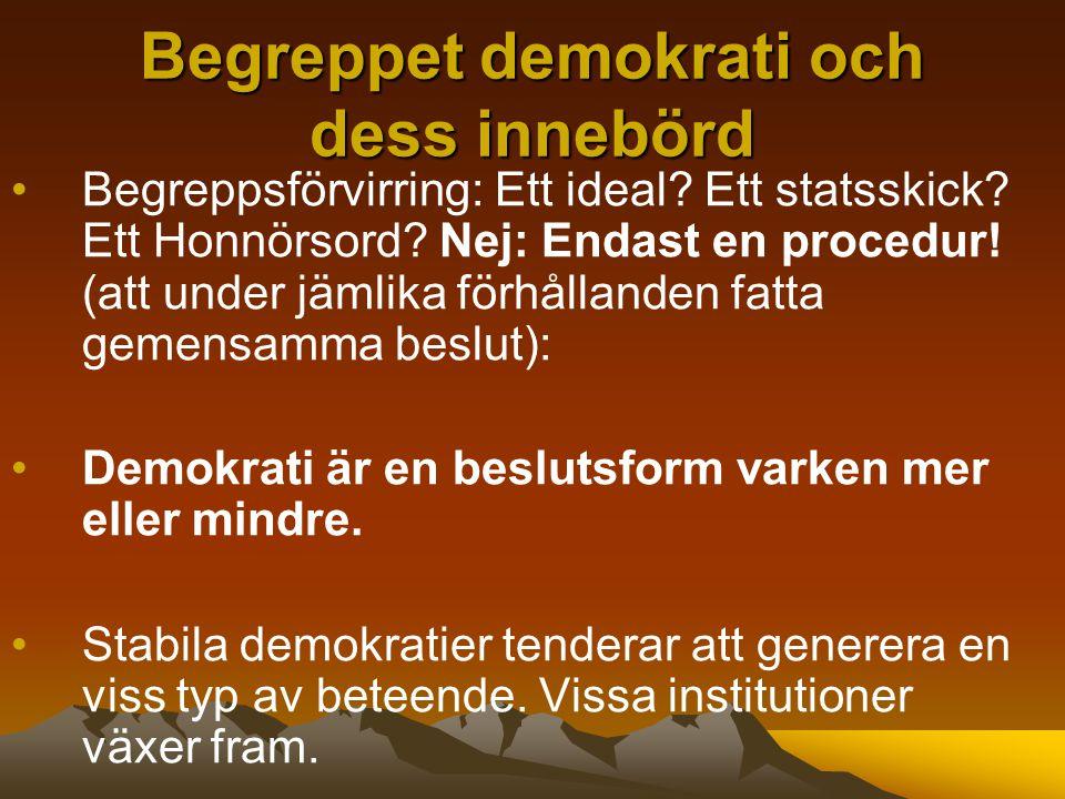 Begreppet demokrati och dess innebörd Begreppsförvirring: Ett ideal.