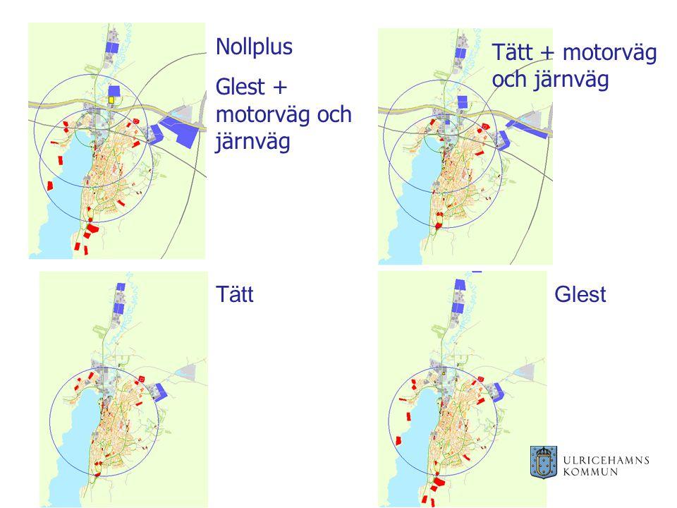 Tätt + motorväg och järnväg TättGlest Nollplus Glest + motorväg och järnväg