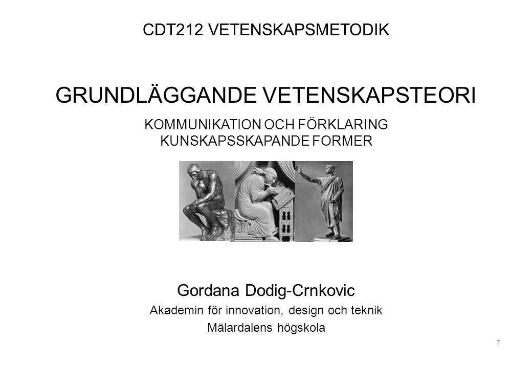 1 CDT212 VETENSKAPSMETODIK GRUNDLÄGGANDE VETENSKAPSTEORI KOMMUNIKATION OCH FÖRKLARING KUNSKAPSSKAPANDE FORMER Gordana Dodig-Crnkovic Akademin för inno
