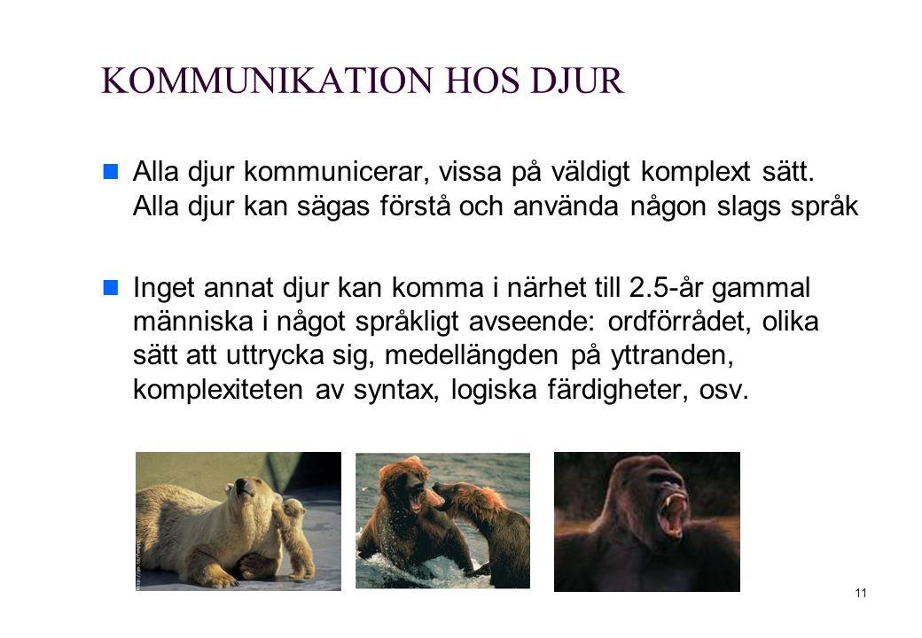 11 KOMMUNIKATION HOS DJUR Alla djur kommunicerar, vissa på väldigt komplext sätt. Alla djur kan sägas förstå och använda någon slags språk Inget annat