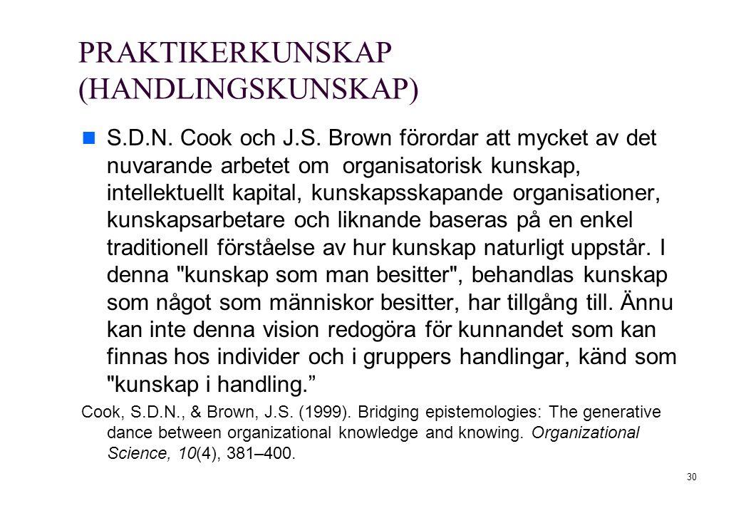 PRAKTIKERKUNSKAP (HANDLINGSKUNSKAP) S.D.N. Cook och J.S. Brown förordar att mycket av det nuvarande arbetet om organisatorisk kunskap, intellektuellt