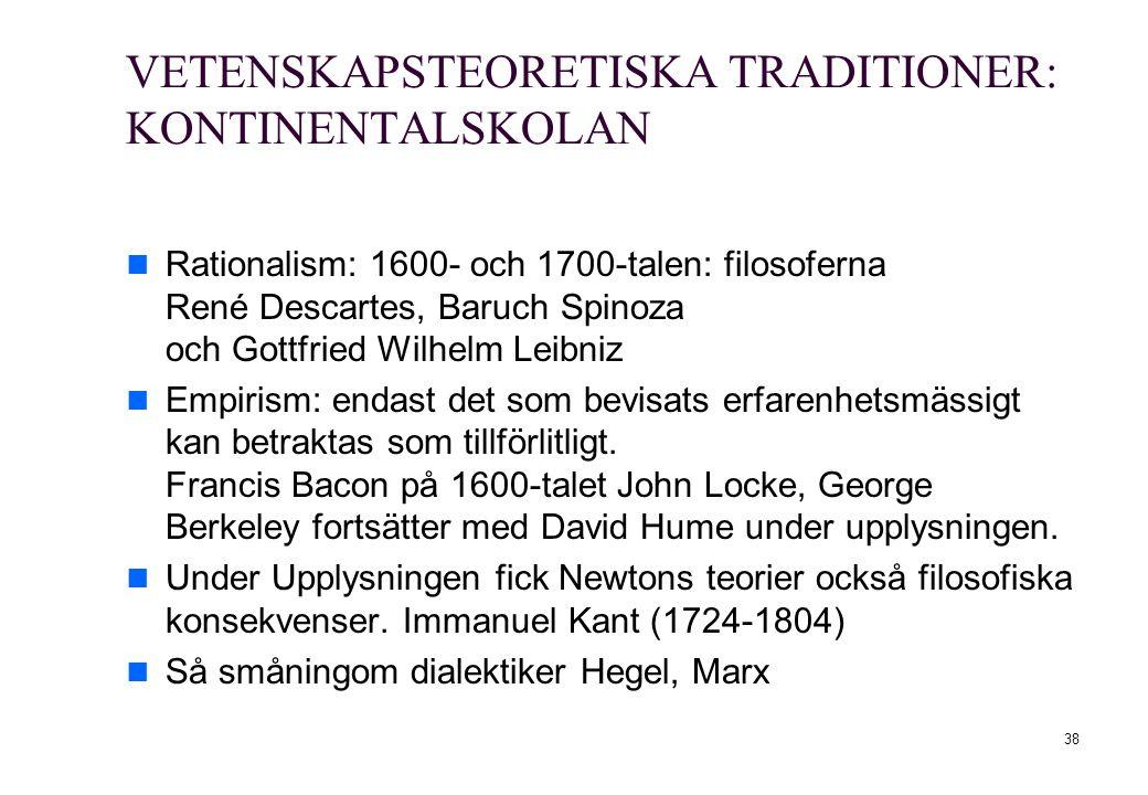 38 VETENSKAPSTEORETISKA TRADITIONER: KONTINENTALSKOLAN Rationalism: 1600- och 1700-talen: filosoferna René Descartes, Baruch Spinoza och Gottfried Wil
