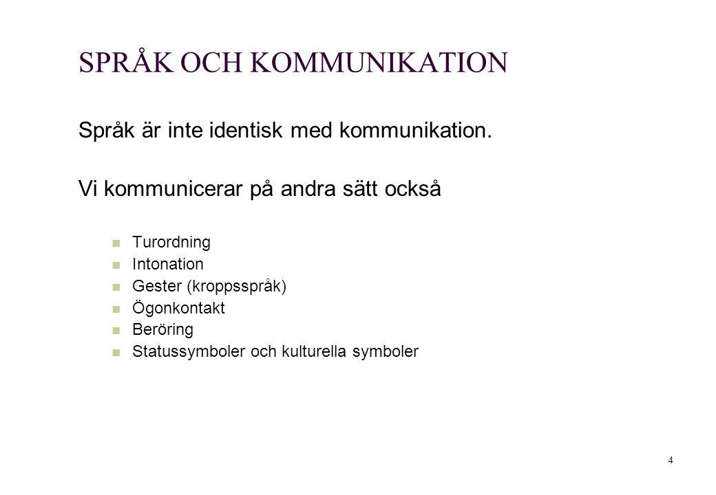 4 SPRÅK OCH KOMMUNIKATION Språk är inte identisk med kommunikation. Vi kommunicerar på andra sätt också Turordning Intonation Gester (kroppsspråk) Ögo