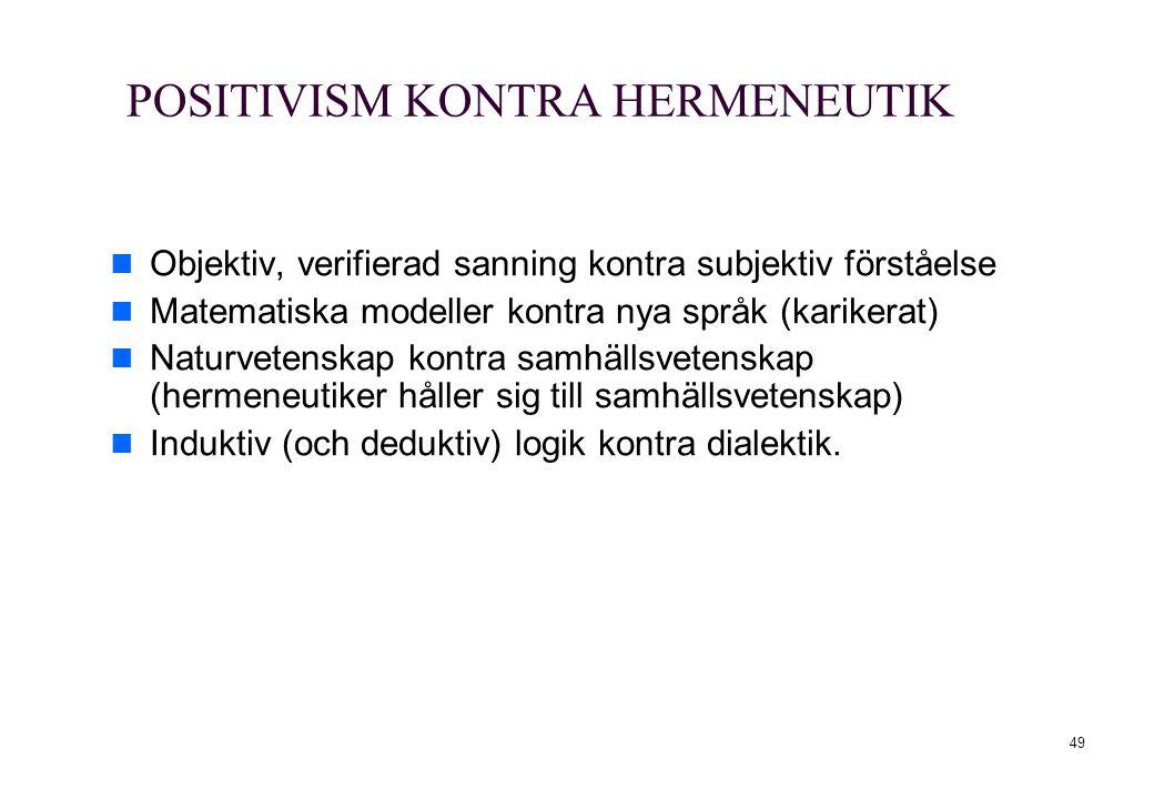 49 POSITIVISM KONTRA HERMENEUTIK Objektiv, verifierad sanning kontra subjektiv förståelse Matematiska modeller kontra nya språk (karikerat) Naturveten