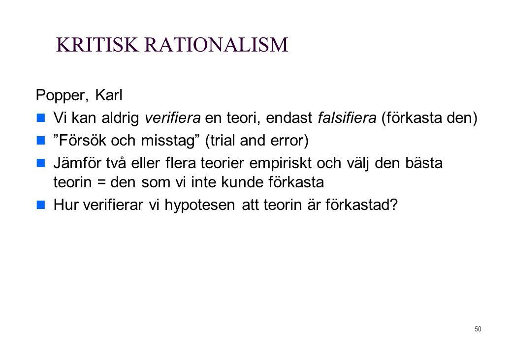 """50 KRITISK RATIONALISM Popper, Karl Vi kan aldrig verifiera en teori, endast falsifiera (förkasta den) """"Försök och misstag"""" (trial and error) Jämför t"""