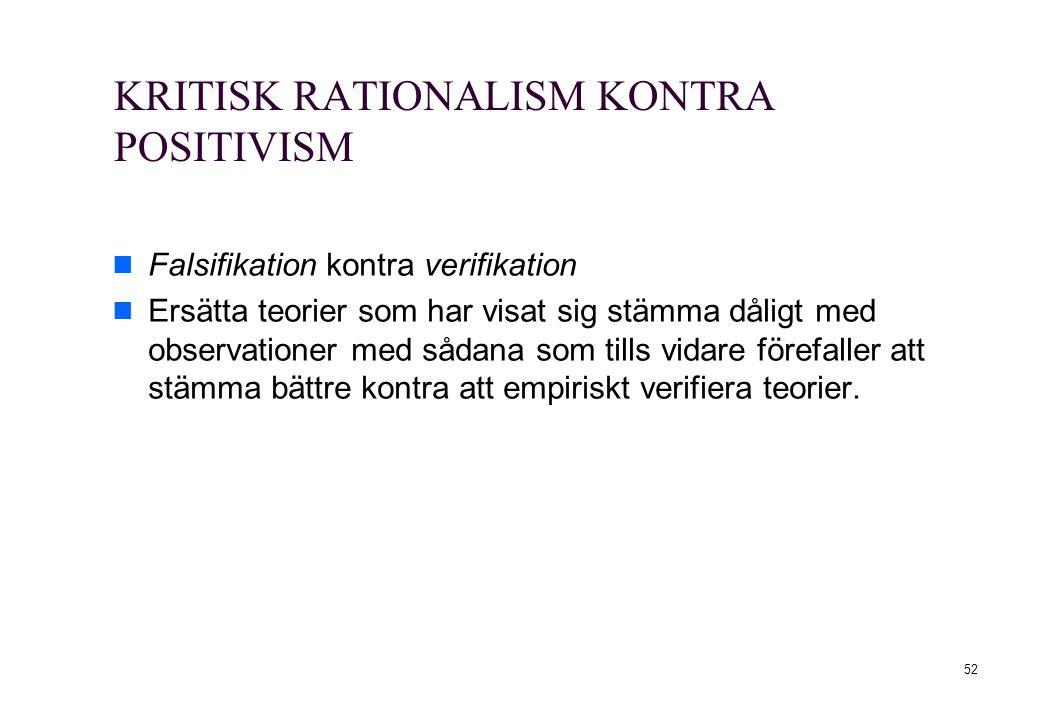 52 KRITISK RATIONALISM KONTRA POSITIVISM Falsifikation kontra verifikation Ersätta teorier som har visat sig stämma dåligt med observationer med sådan