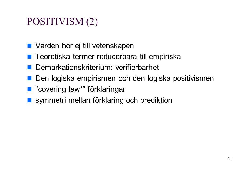 58 POSITIVISM (2) Värden hör ej till vetenskapen Teoretiska termer reducerbara till empiriska Demarkationskriterium: verifierbarhet Den logiska empiri