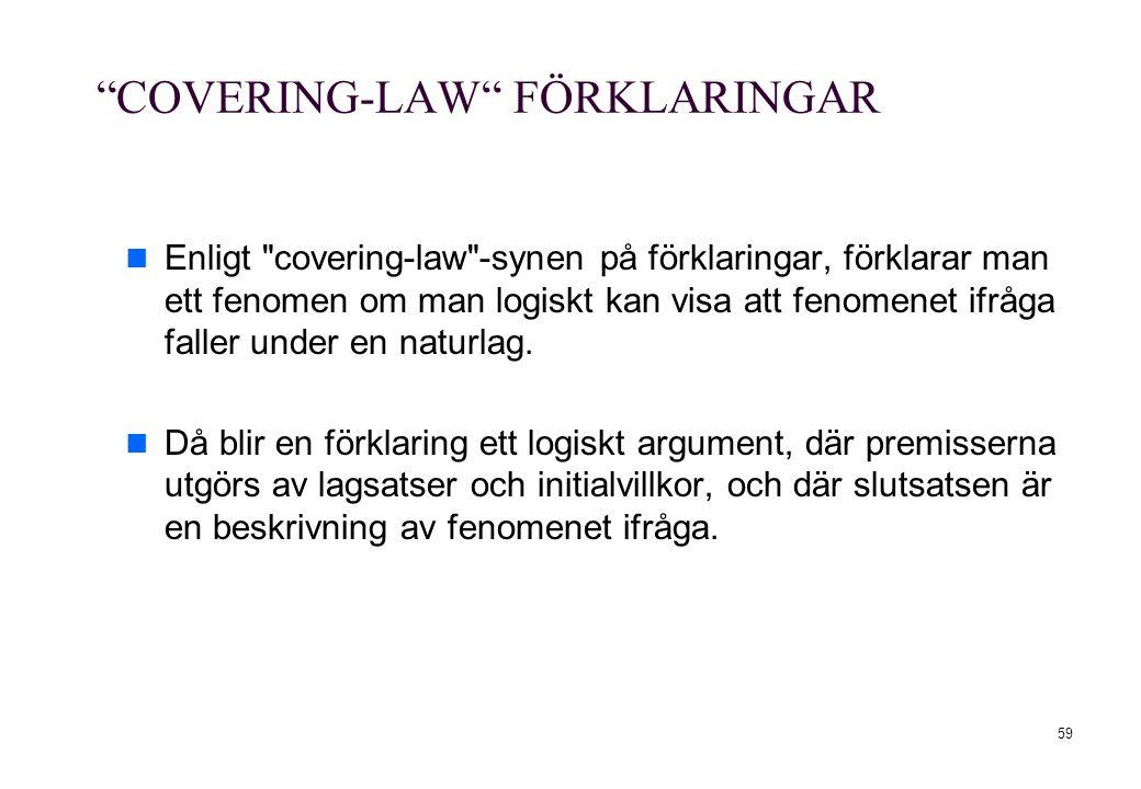 """59 """"COVERING-LAW"""" FÖRKLARINGAR Enligt"""