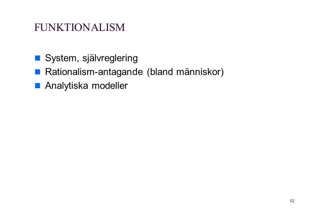 62 FUNKTIONALISM System, självreglering Rationalism-antagande (bland människor) Analytiska modeller