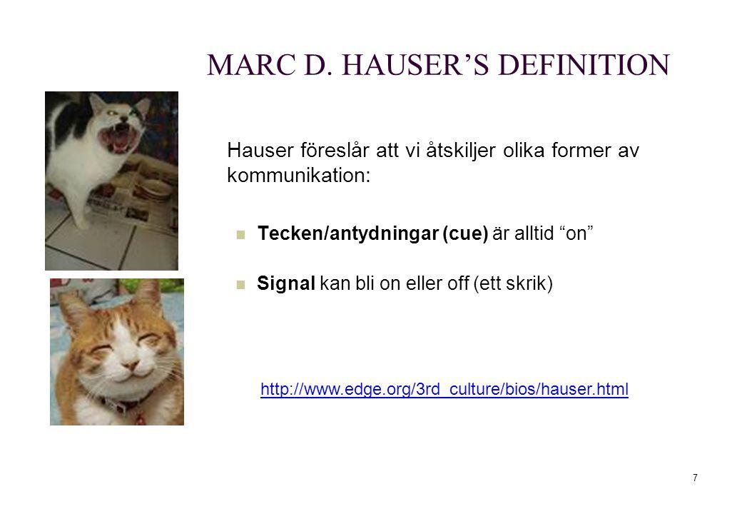 """7 MARC D. HAUSER'S DEFINITION Hauser föreslår att vi åtskiljer olika former av kommunikation: Tecken/antydningar (cue) är alltid """"on"""" Signal kan bli o"""