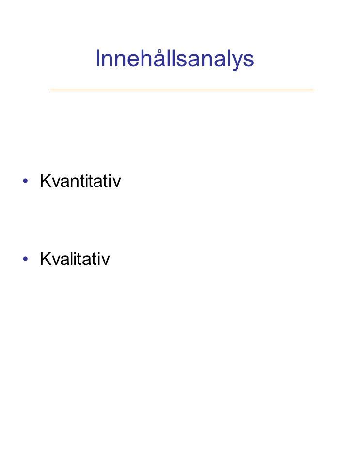 Innehållsanalys Kvantitativ Kvalitativ