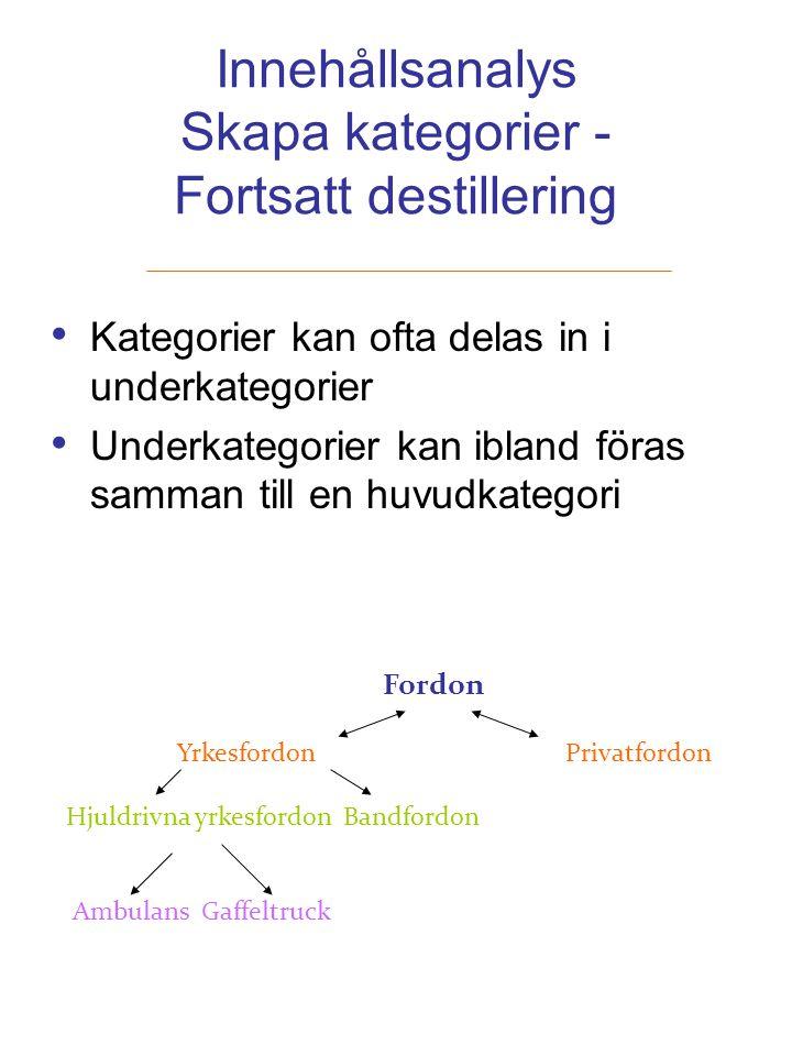 Innehållsanalys Skapa kategorier - Fortsatt destillering Kategorier kan ofta delas in i underkategorier Underkategorier kan ibland föras samman till e