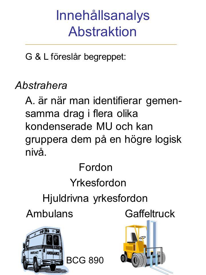 Innehållsanalys Abstraktion G & L föreslår begreppet: Abstrahera A. är när man identifierar gemen- samma drag i flera olika kondenserade MU och kan gr