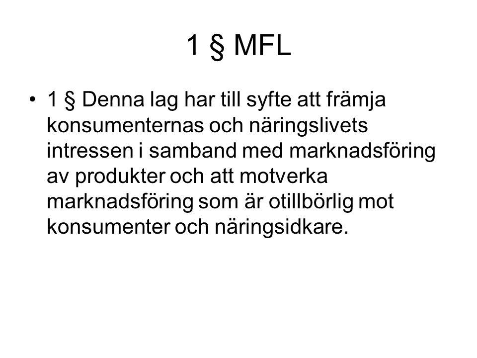 1 § MFL 1 § Denna lag har till syfte att främja konsumenternas och näringslivets intressen i samband med marknadsföring av produkter och att motverka