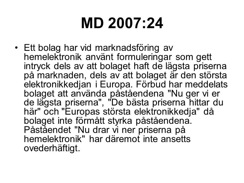 MD 2007:24 Ett bolag har vid marknadsföring av hemelektronik använt formuleringar som gett intryck dels av att bolaget haft de lägsta priserna på mark
