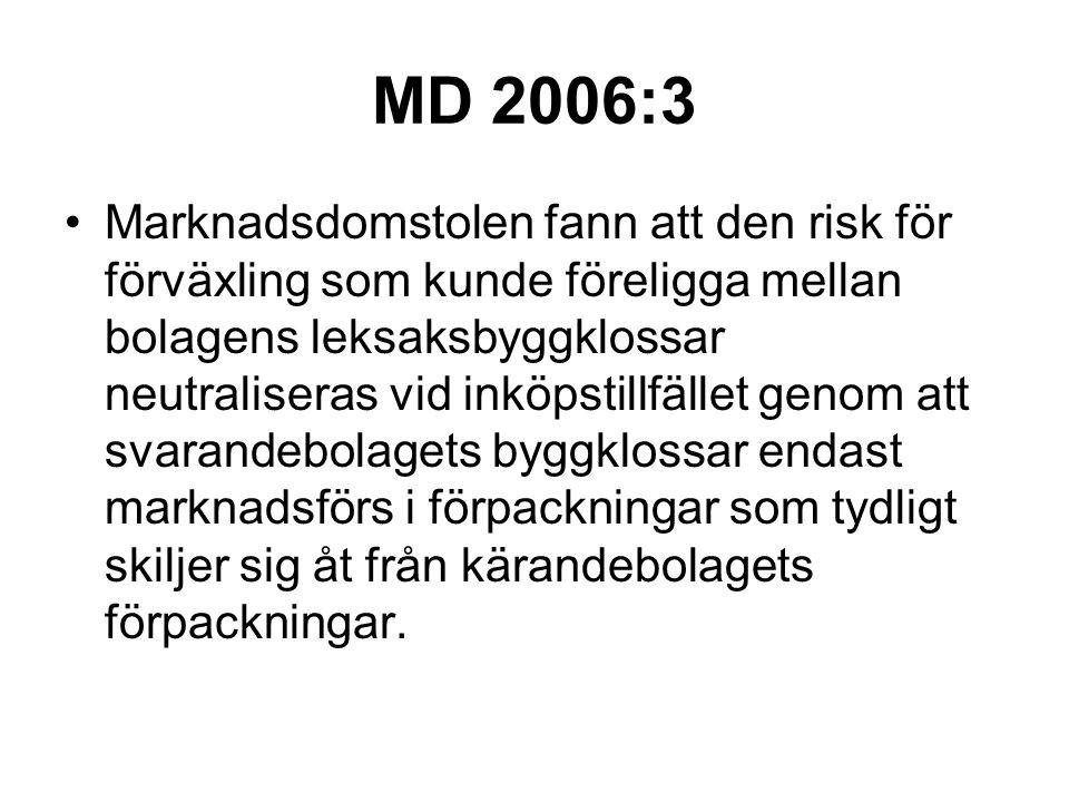 MD 2006:3 Marknadsdomstolen fann att den risk för förväxling som kunde föreligga mellan bolagens leksaksbyggklossar neutraliseras vid inköpstillfället