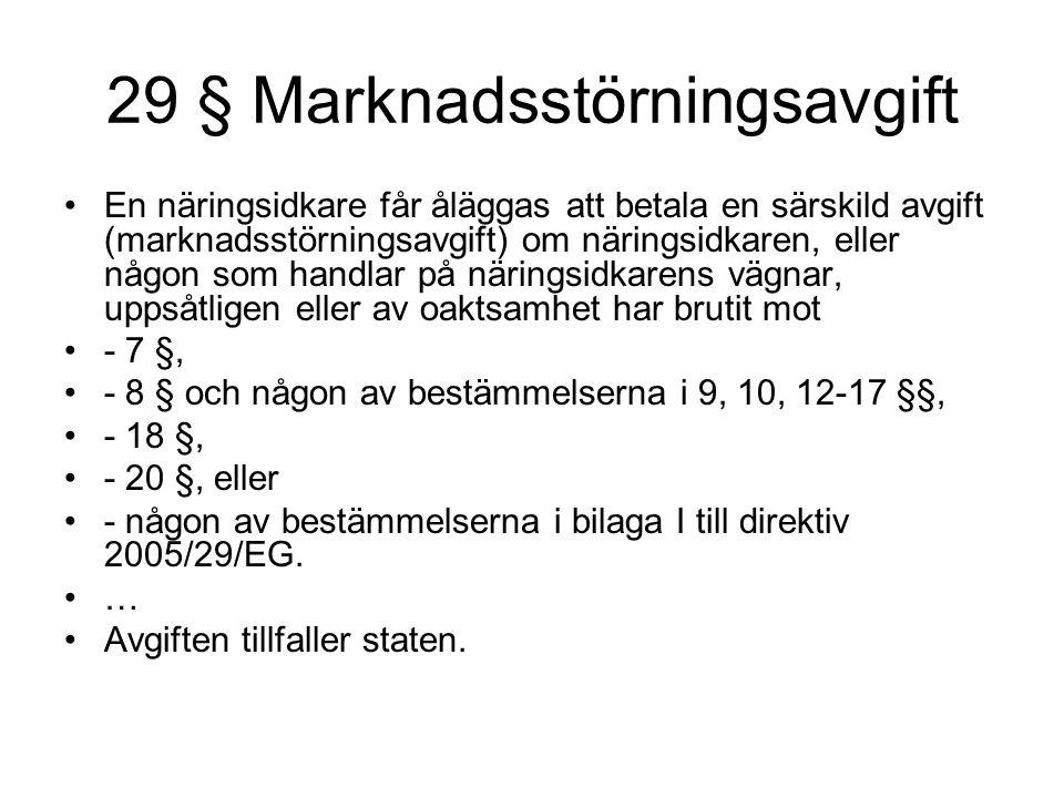 29 § Marknadsstörningsavgift En näringsidkare får åläggas att betala en särskild avgift (marknadsstörningsavgift) om näringsidkaren, eller någon som h