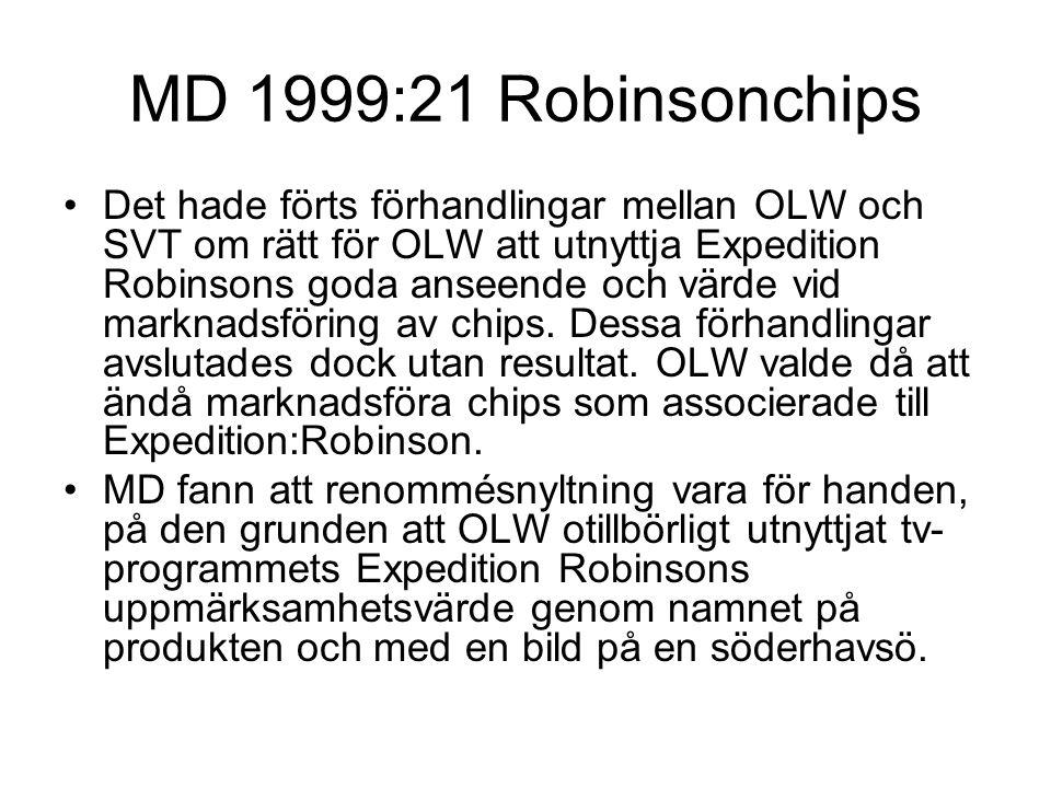 MD 1999:21 Robinsonchips Det hade förts förhandlingar mellan OLW och SVT om rätt för OLW att utnyttja Expedition Robinsons goda anseende och värde vid