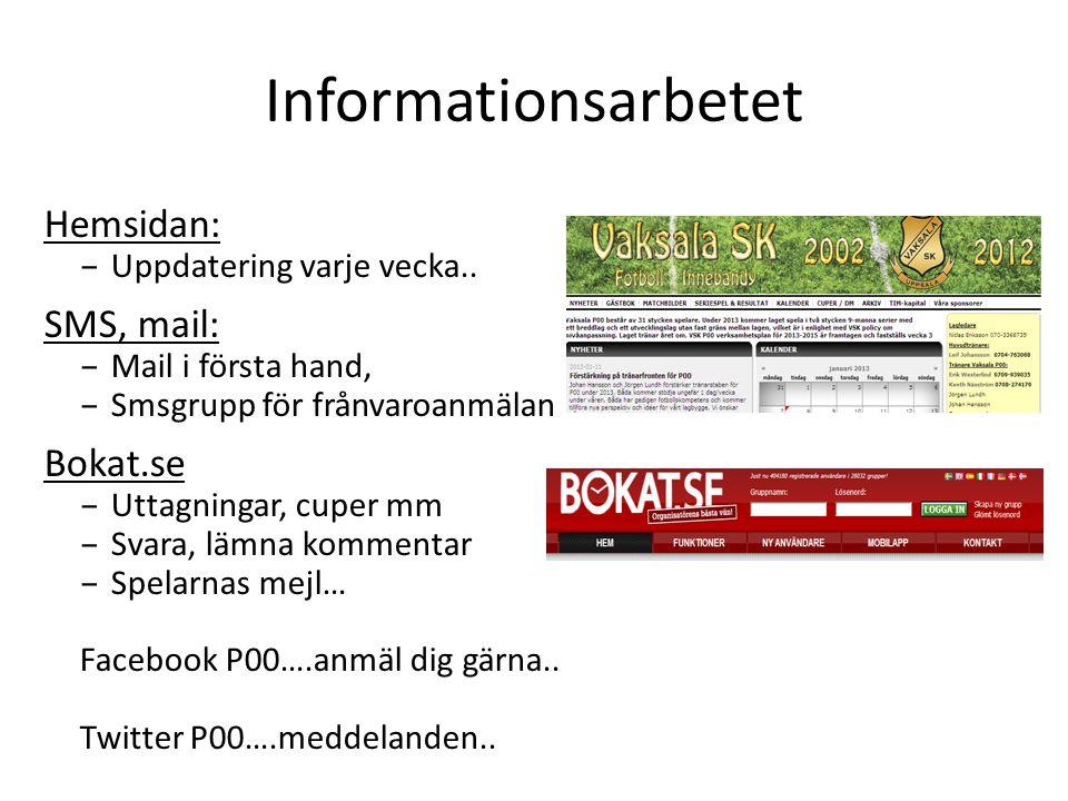 Informationsarbetet Hemsidan: – Uppdatering varje vecka.. SMS, mail: – Mail i första hand, – Smsgrupp för frånvaroanmälan Bokat.se – Uttagningar, cupe
