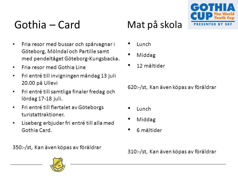 Gothia – Card Fria resor med bussar och spårvagnar i Göteborg, Mölndal och Partille samt med pendeltåget Göteborg-Kungsbacka. Fria resor med Gothia Li