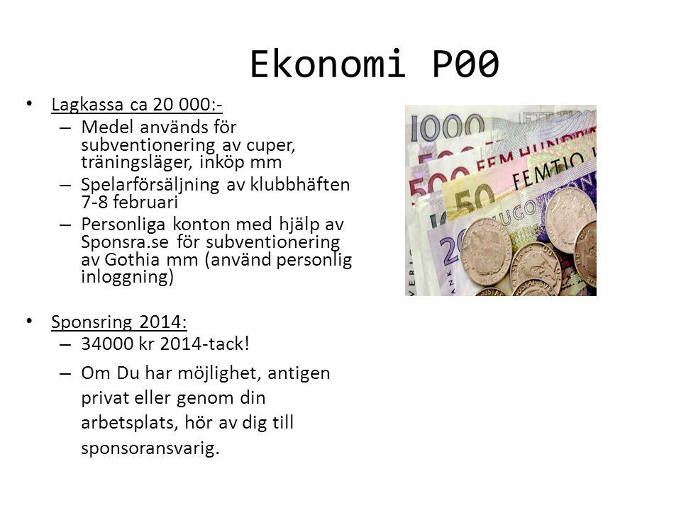 Ekonomi P00 Lagkassa ca 20 000:- – Medel används för subventionering av cuper, träningsläger, inköp mm – Spelarförsäljning av klubbhäften 7-8 februari