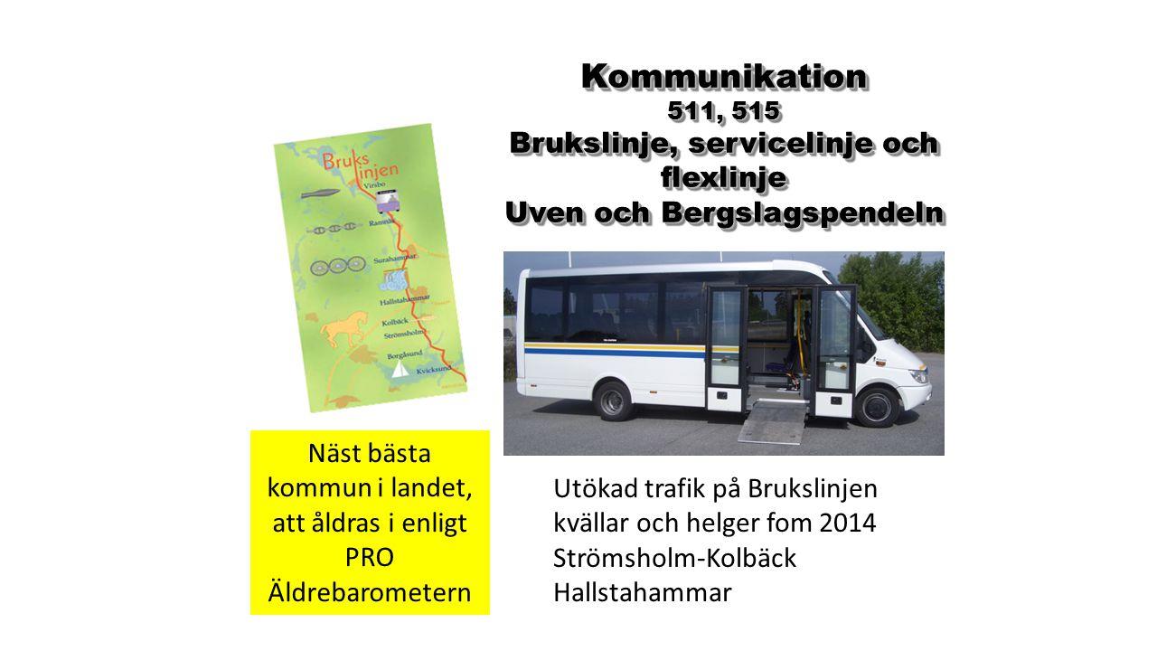 Kommunikation 511, 515 Brukslinje, servicelinje och flexlinje Uven och Bergslagspendeln Kommunikation 511, 515 Brukslinje, servicelinje och flexlinje