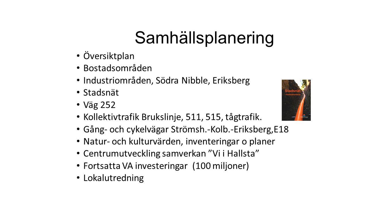 Samhällsplanering Översiktplan Bostadsområden Industriområden, Södra Nibble, Eriksberg Stadsnät Väg 252 Kollektivtrafik Brukslinje, 511, 515, tågtrafi