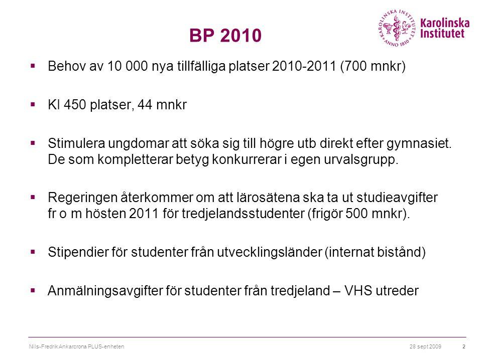 28 sept 2009Nils-Fredrik Ankarcrona PLUS-enheten2 BP 2010  Behov av 10 000 nya tillfälliga platser 2010-2011 (700 mnkr)  KI 450 platser, 44 mnkr  Stimulera ungdomar att söka sig till högre utb direkt efter gymnasiet.